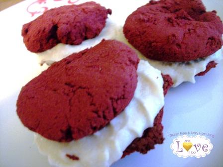 Ingredient-Challenge Monday Vegan Red Velvet Whoopie Pie (Gluten Free, Diary Free, Egg Free, Soy Free, Corn Free)