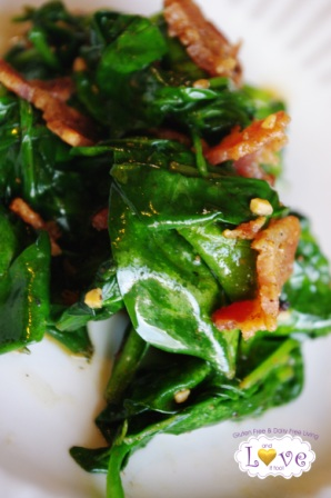 Bacon-Infused Wilted Spinach (Vegan Alternative Noted)