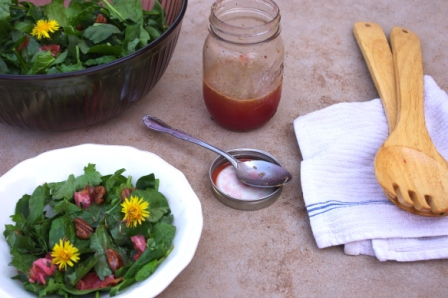 Spinach, Kale and Dandelion Green Salad with Blood Oranges, Candied Pecans and Blood Orange Vinaigrette
