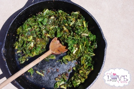 ICM Challenge Winner: Tessa the Domestic Diva Sauteed Kale w/Carmelized Onions; Well Fed Winner and April ICM Ingredient Announcement (in otherwords: a must-read post)