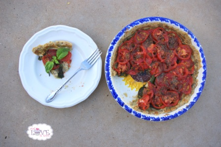 Roasted Garlic, Basil and Tomato Paleo Tart