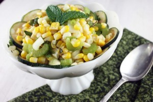 chipotle corn and zucchini salad compressed