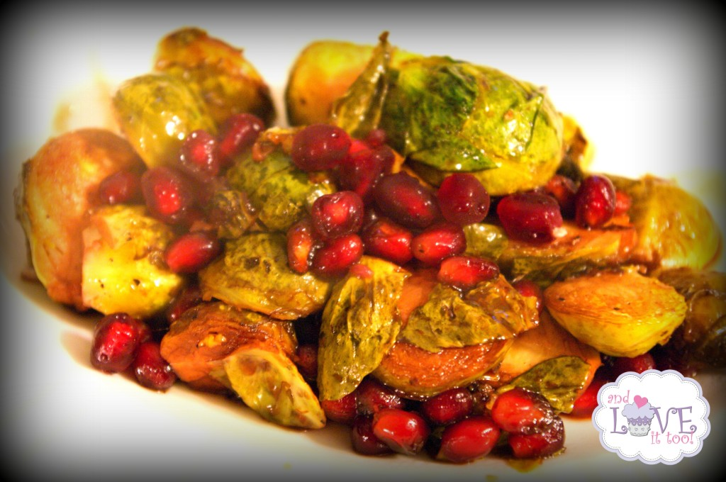 Pomegranate Balsamic Roasted Brussel Sprouts