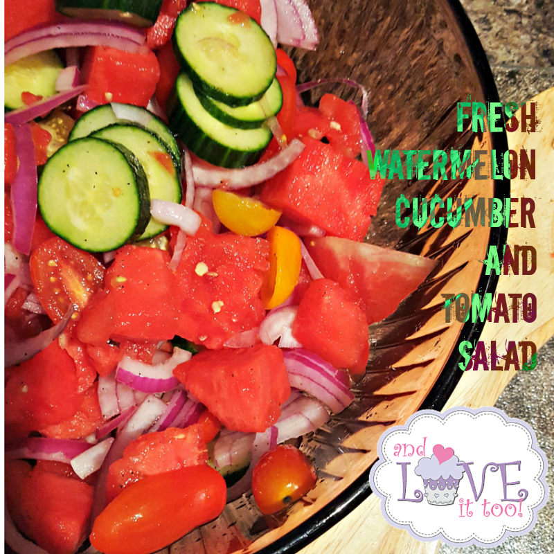 Fresh Watermelon, Cucumber and Tomato Salad